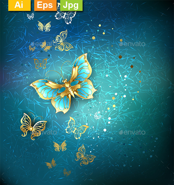 GraphicRiver Luxury Gold Butterflies 10232029