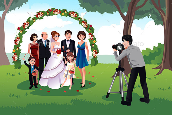 GraphicRiver Man Photographing a Family in a Wedding 10232217