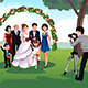 Man Photographing a Family in a Wedding - GraphicRiver Item for Sale
