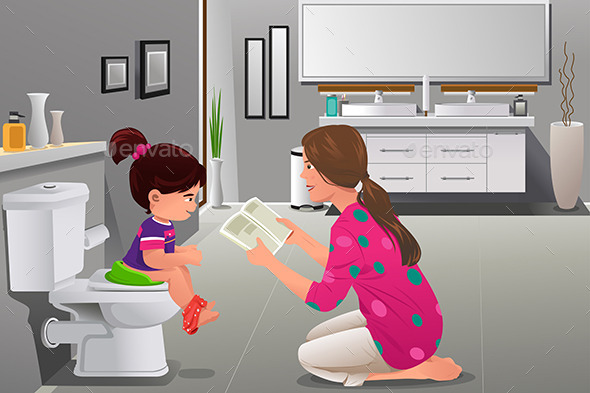 GraphicRiver Girl Doing Potty Training with Her Mother Watching 10232281