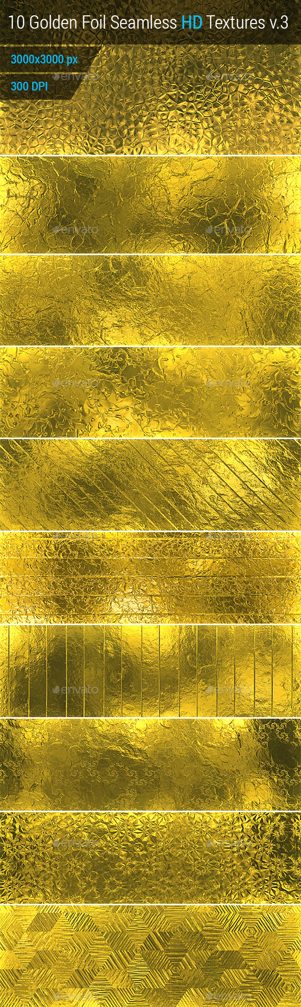 Golden Foil Seamless HD Textures Set v.3