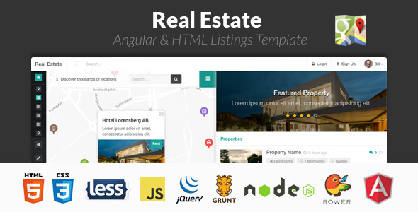 ThemeForest Real Estate Angular & HTML Listings Template 10151385