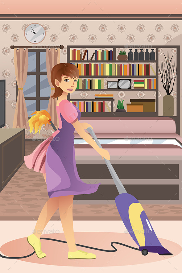 GraphicRiver Happy Woman Vacuuming Carpet 10235767