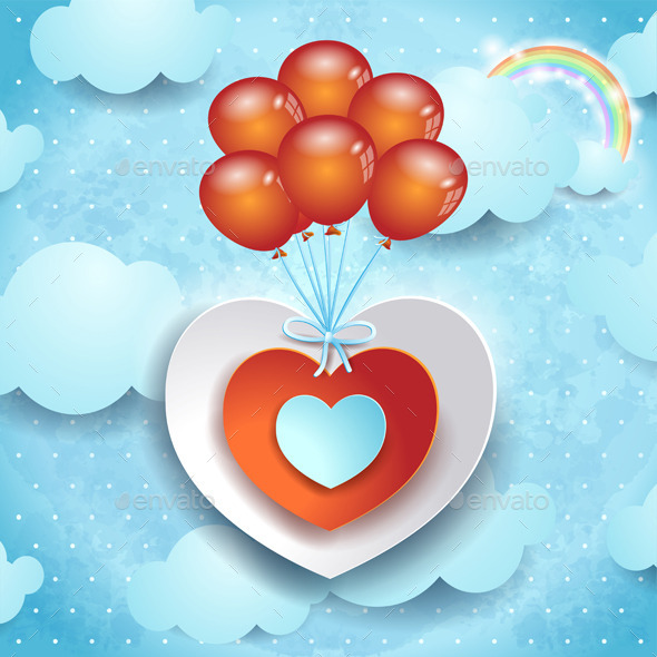 Valentine Illustration with Hearts and Balloons