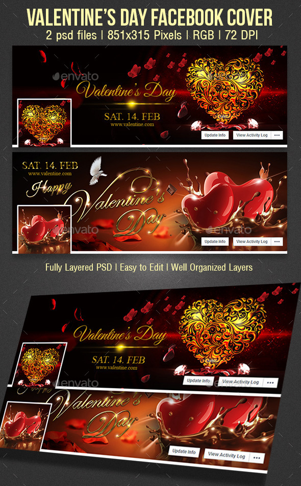 GraphicRiver Valentines Day Facebook cover 10236311