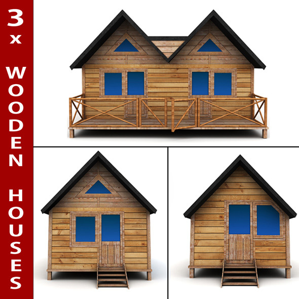 Wooden Houses Pack - 3DOcean Item for Sale