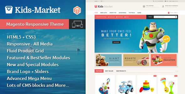 01 themepreview. large preview - Kids Market - Magento Responsive Theme