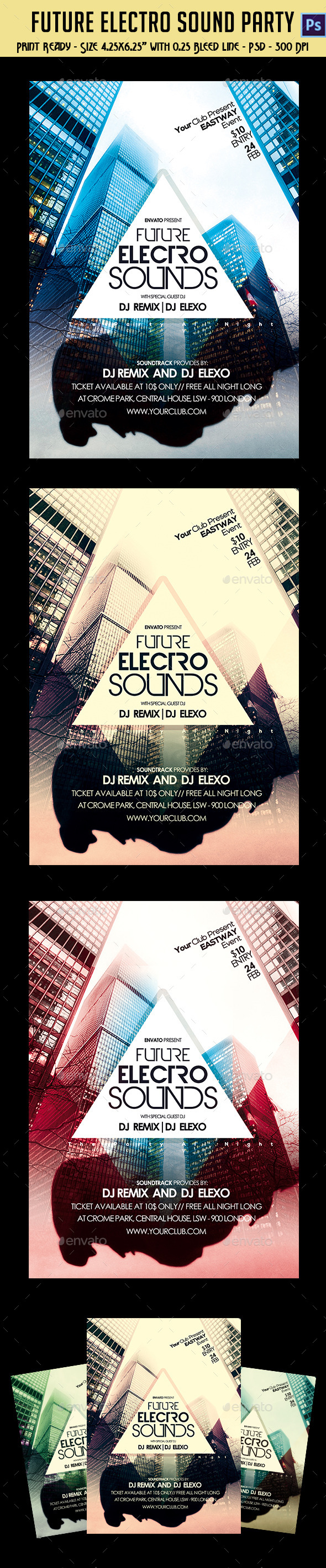 GraphicRiver Future Electro Sounds Party Flyer 10237310