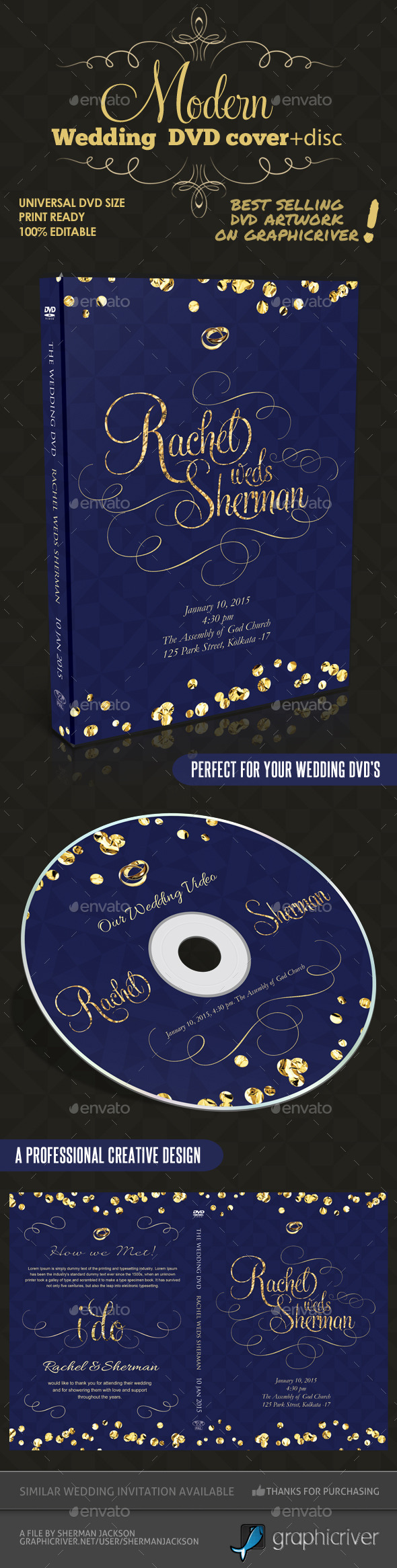 GraphicRiver Modern Wedding DVD Cover & Disc Template 10237595
