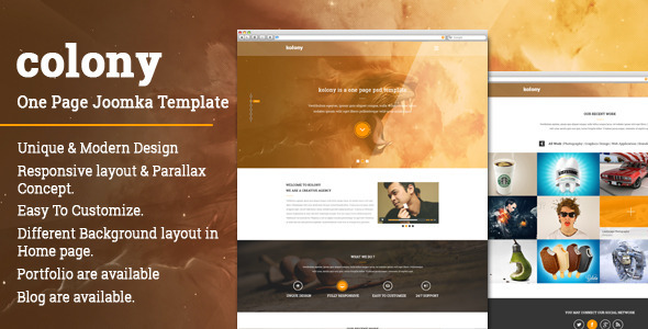 ThemeForest Colony One page Multipurpose JOOMLA Template 10239456