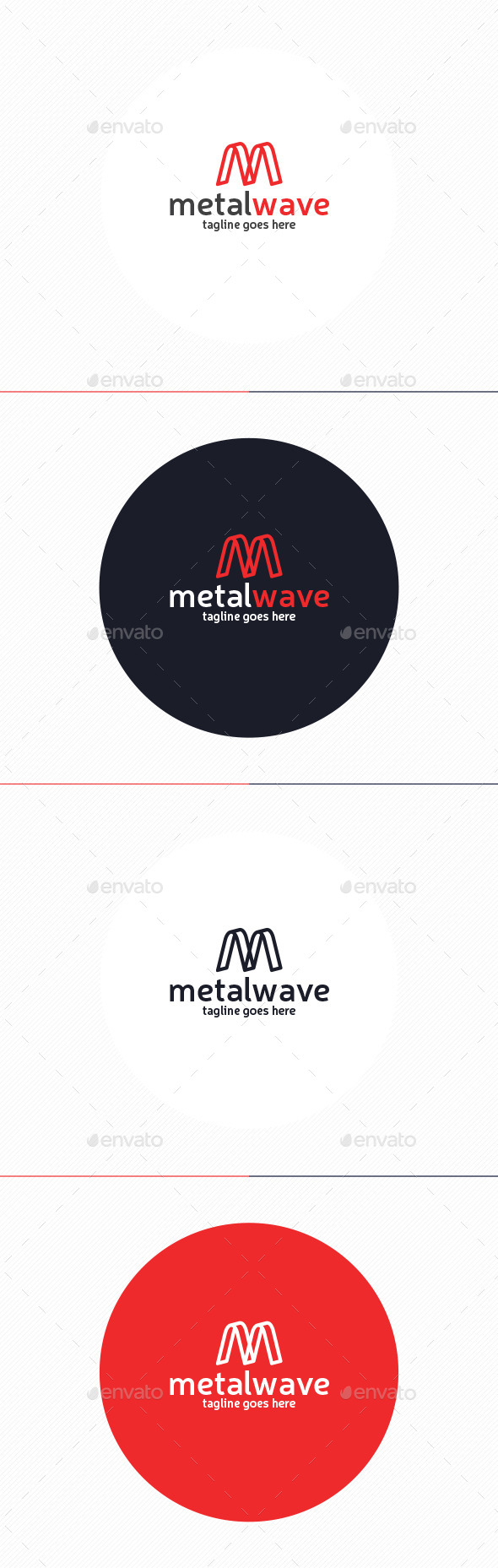 GraphicRiver Metal Wave Logo Letter M 10239570