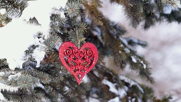 Spruce Branch with Snow and Heart