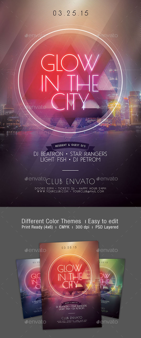 GraphicRiver Glow In The City Flyer 10240024
