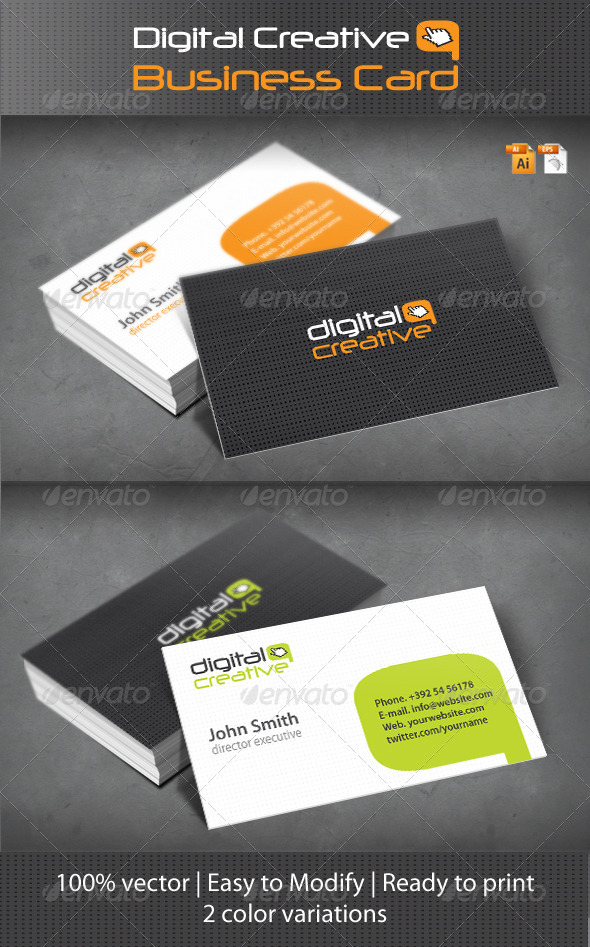 Graphic River Digital Creative Business Card Print Templates -  Business Cards  Creative 1030003