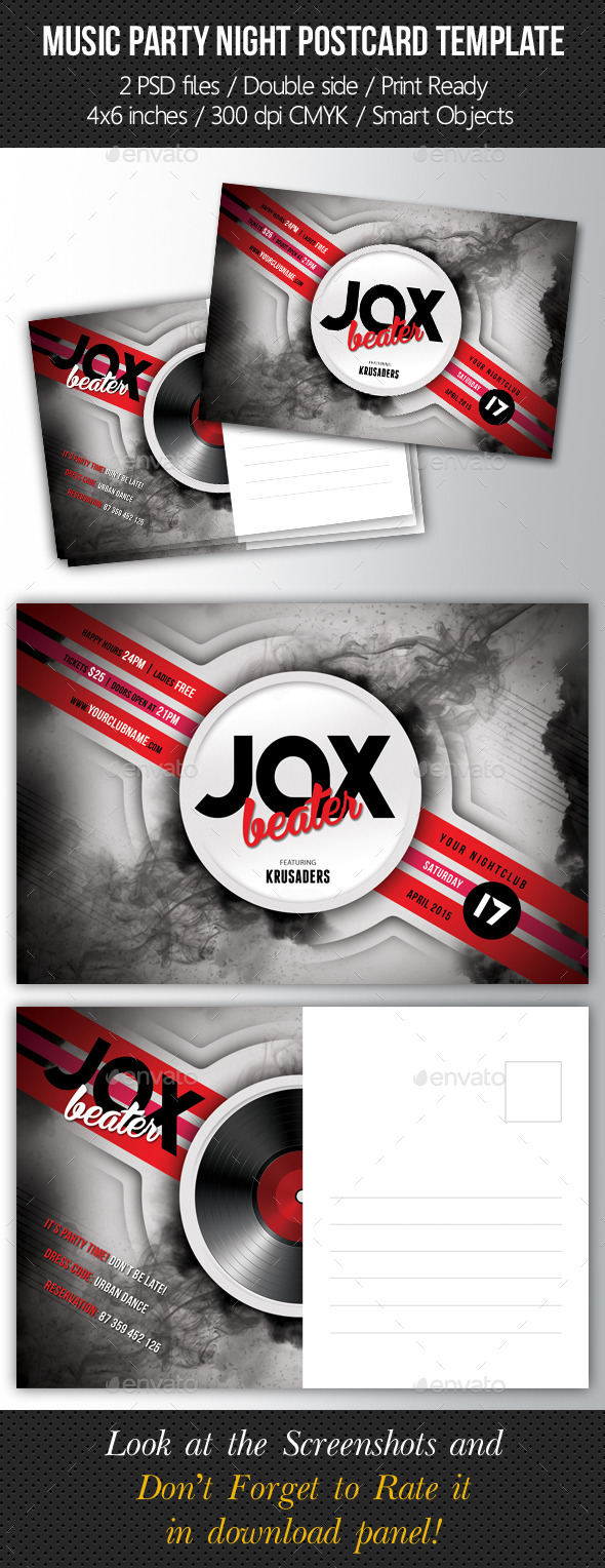 Music Night Party Postcard Template V01