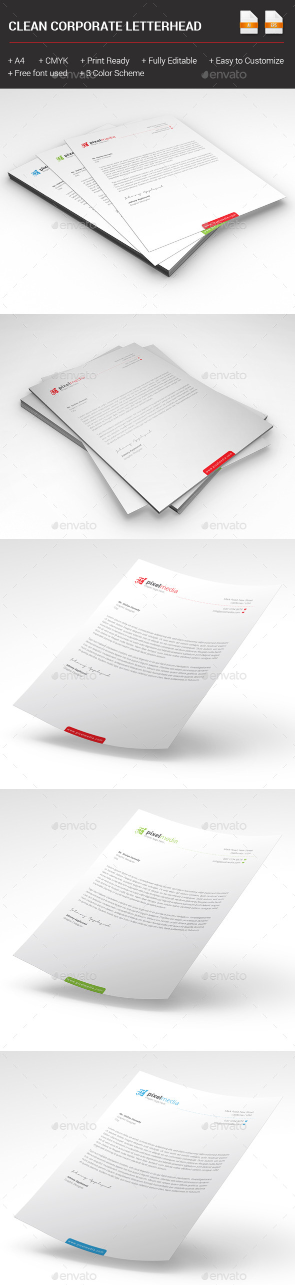 GraphicRiver Clean Corporate Letterhead 10240599
