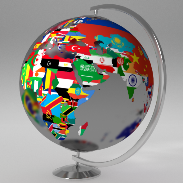 Earth Globe World Map With Flags By Umurdesign 3docean