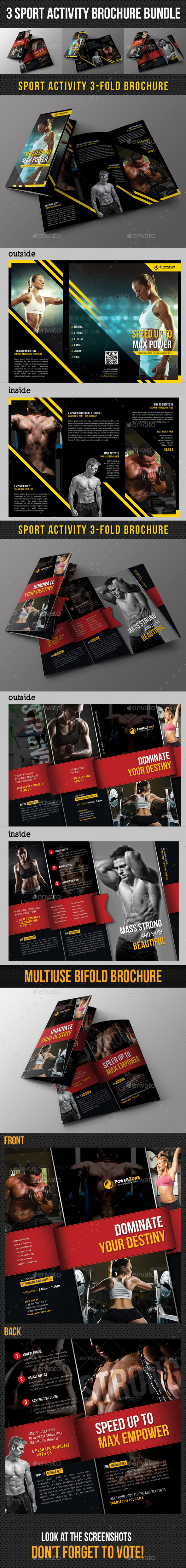 GraphicRiver 3 in 1 Sport Activity Brochure Bundle 10240923