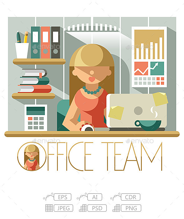 Flat Office Team Accountant