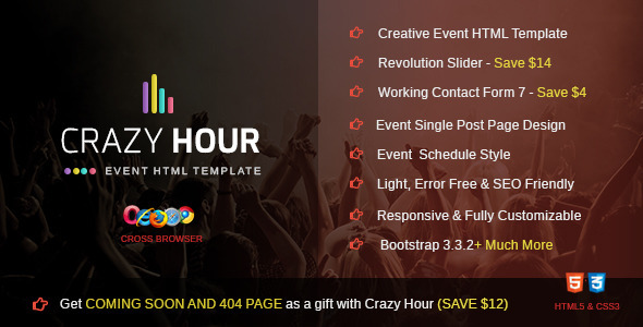 Crazy Hour - Event Management HTML Template - Events Entertainment