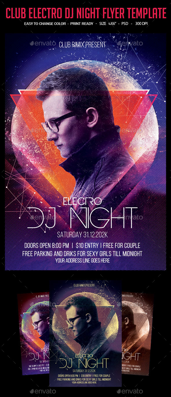 GraphicRiver Club Electro Dj Night Flyer Template 10184502