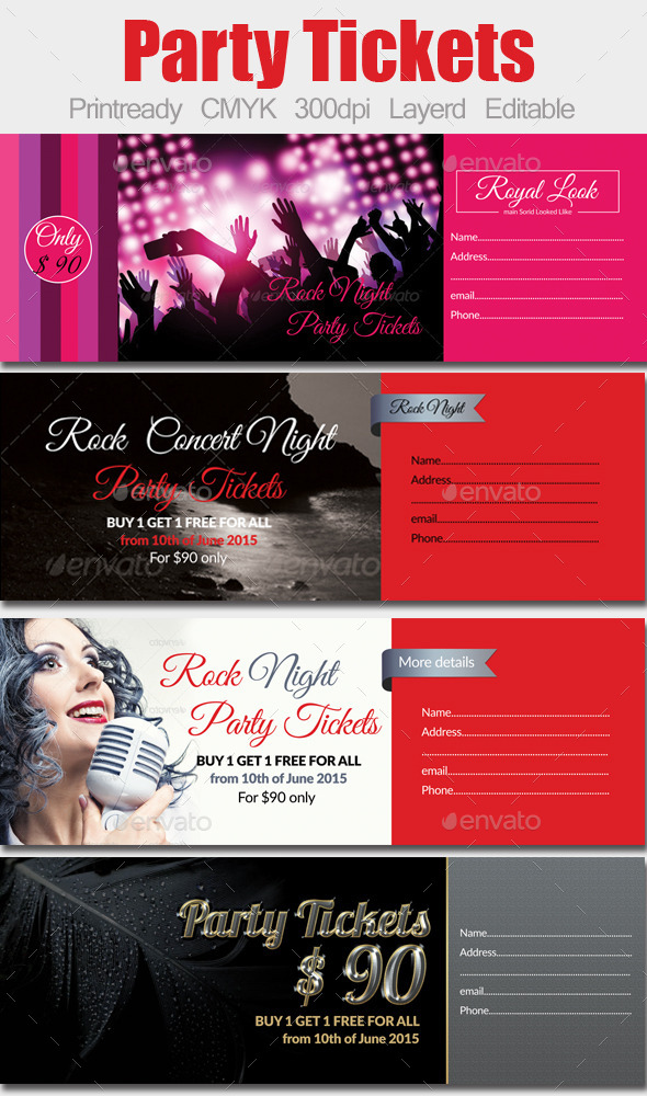 GraphicRiver 4 Special Party Event Ticket Bundle 10242224
