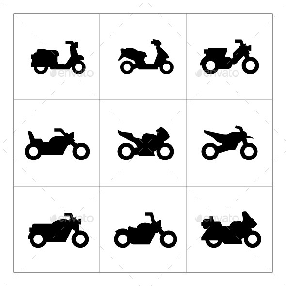 GraphicRiver Set Icons of Motorcycles 10242925