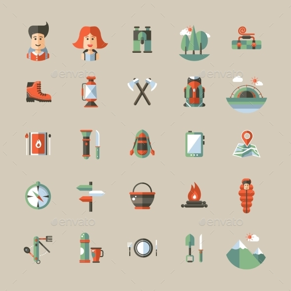 GraphicRiver Camping and Hiking Elements 10243508