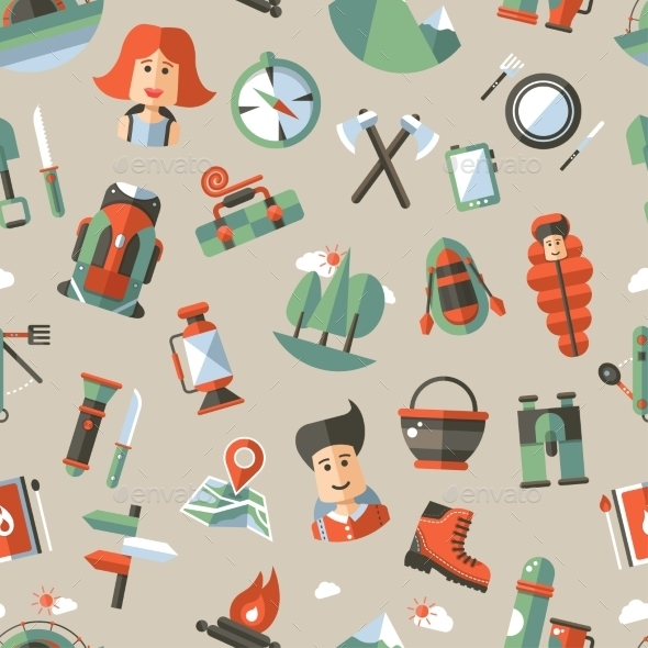 GraphicRiver Camping and Hiking Pattern 10243511