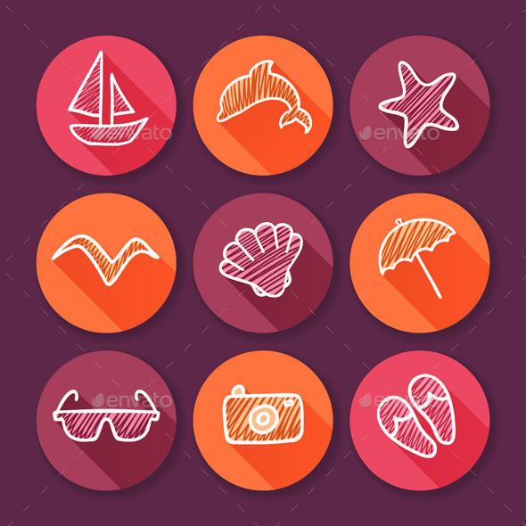 GraphicRiver Summer Time and Travel Icons 10243566