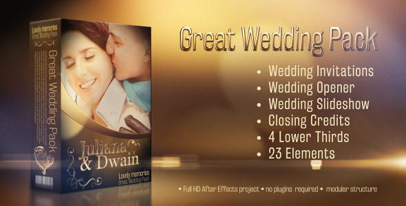 AE模板:浪漫黄金粒子光斑 唯美婚礼邀请 丝带幻灯片模板Wedding Pack Lovely Memories 10243701
