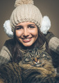 Beautiful woman with cat - PhotoDune Item for Sale