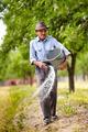 Old farmer spreading fertilizer in orchard - PhotoDune Item for Sale