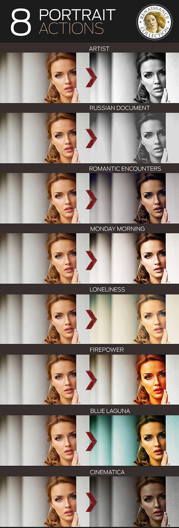 8 Renaissance Portrait Actions for Photoshop
