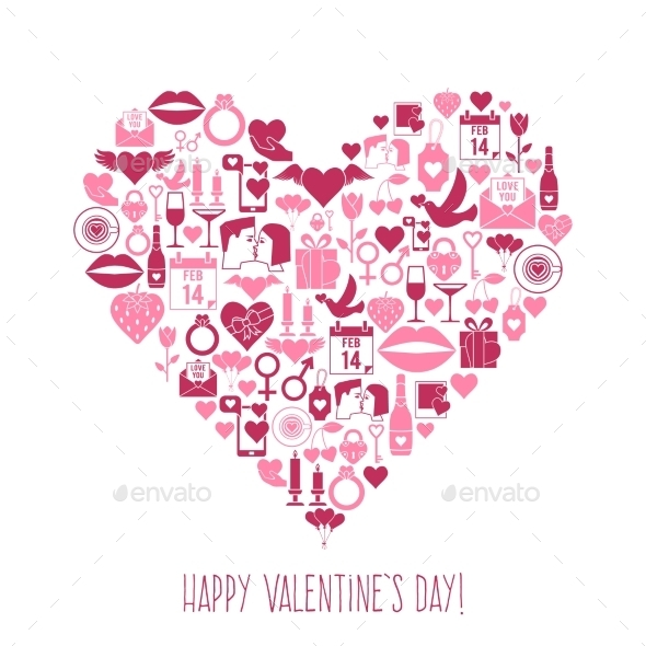 GraphicRiver Valentines Day Mosaic Icons Heart Card 10244751