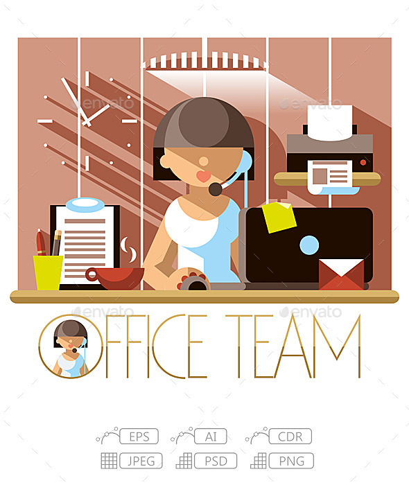 GraphicRiver Flat Office Team Support 10244896