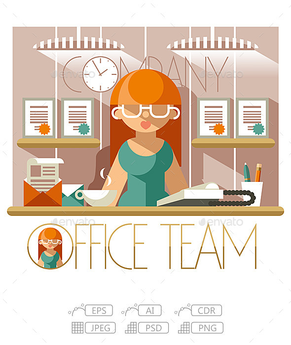 GraphicRiver Flat Office Team Secretary 10244916