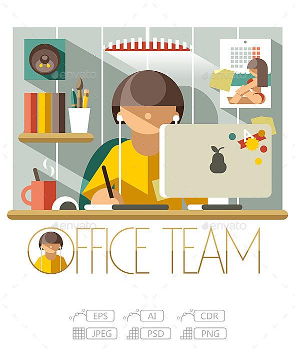GraphicRiver Flat Office Team Designer 10244928