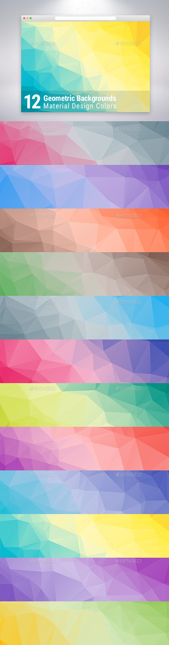GraphicRiver Material Design Geometric Backgrounds x12 10245186