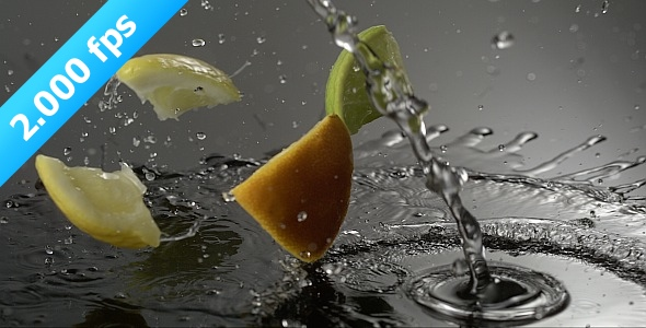 Fruits Are Splashing On A Desk With Water 2