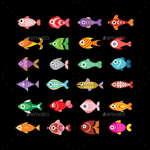 GraphicRiver Fish Icons on Black 10245548