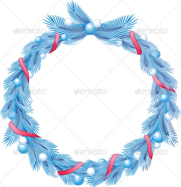 Blue Christmas Pine Wreath