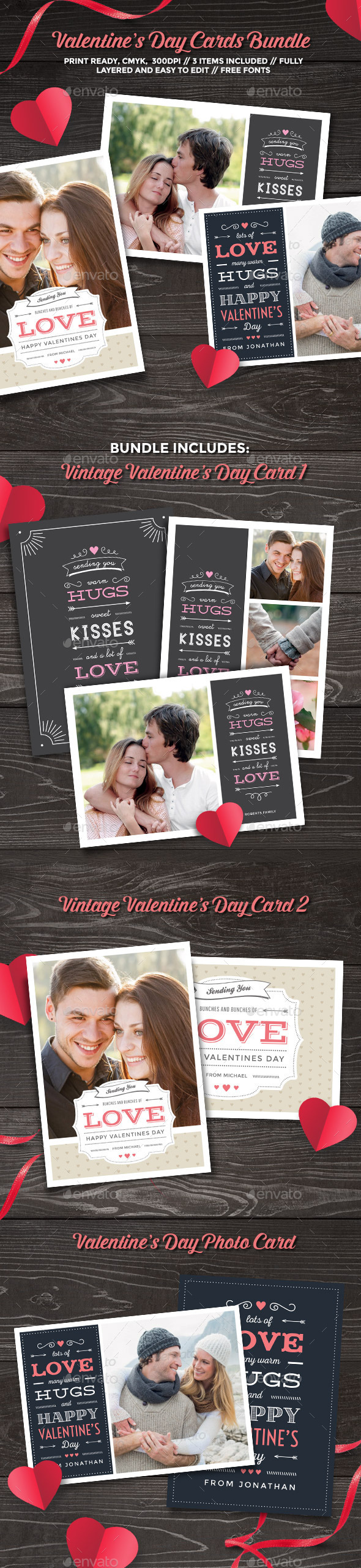 GraphicRiver Valentine's Day Cards Bundle 10245689