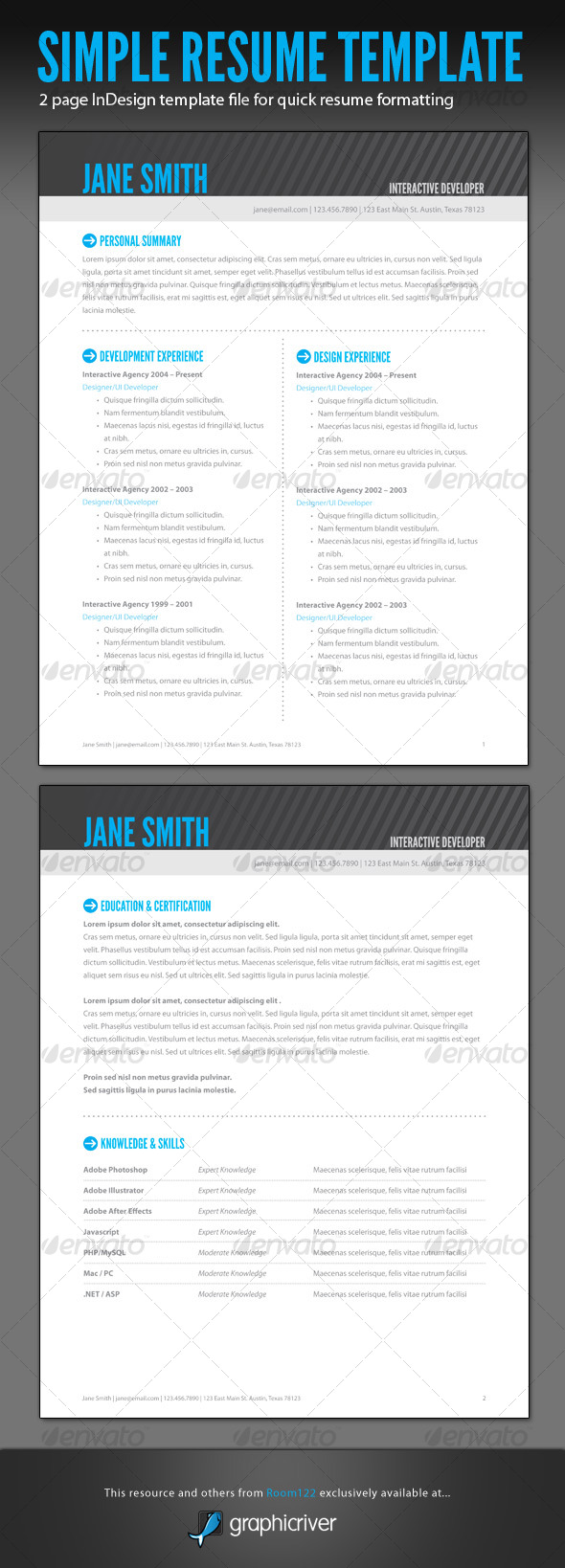 GraphicRiver Simple Resume InDesign Template 129233