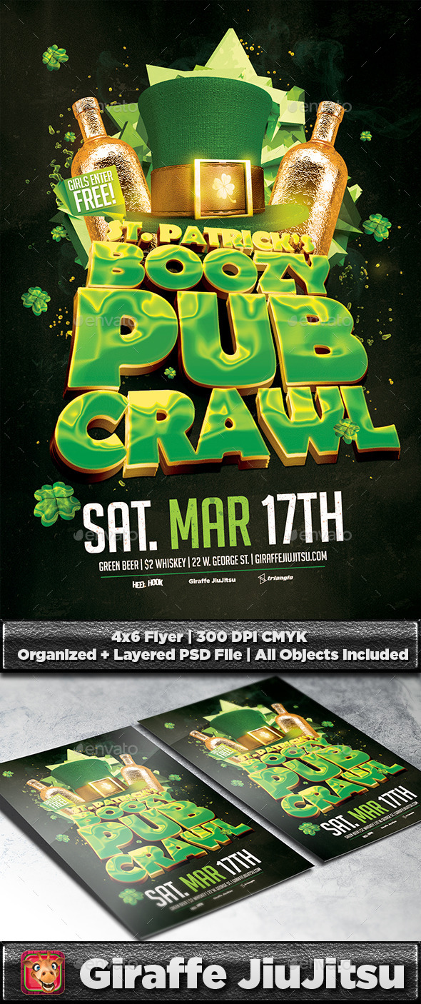 GraphicRiver St Patty s Boozy Pub Crawl Flyer Template 10246319