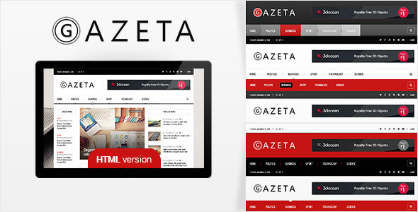 ThemeForest Gazeta Responsive News HTML Template 10246342