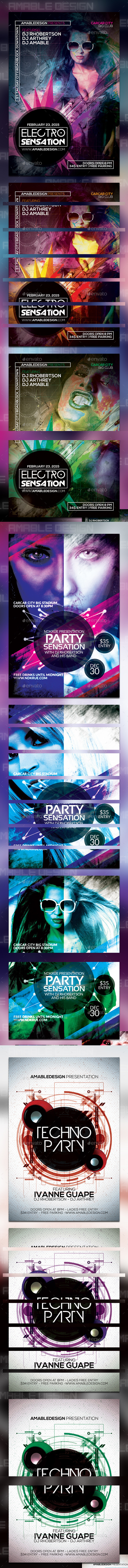 GraphicRiver 3 PSD Party Flyer Bunde 10246353