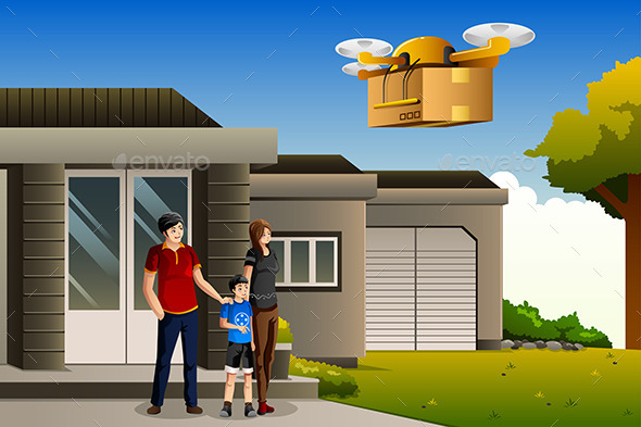 GraphicRiver Family Expecting a Drone Package Delivery 10246365