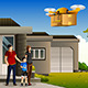 Family Expecting a Drone Package Delivery - GraphicRiver Item for Sale