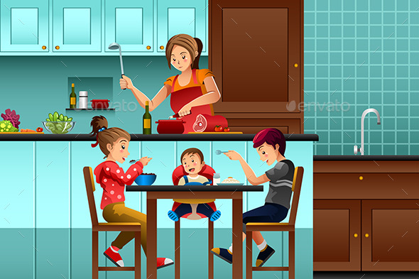 GraphicRiver Busy Mother in the Kitchen with Her Kids 10246415